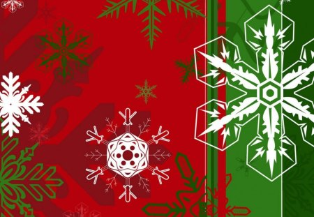 Holiday Snowflakes - red, green, holiday, snow, snowflakes, colours, winter