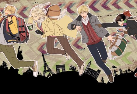 Axis Powers Hetalia - francis, arthur, axis powers, anime, guys, alfred, hetalia, kiku