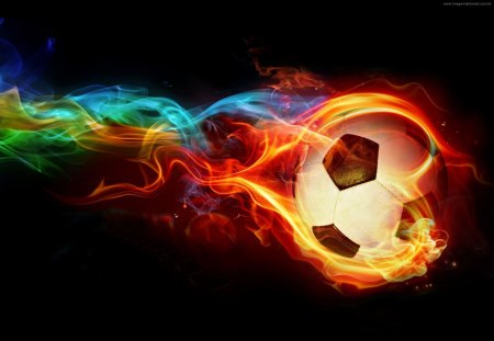 neon fire soccer ball - colorful, epic, cool soccer, sports, rainbow, soccer, ball, soccer ball, fire
