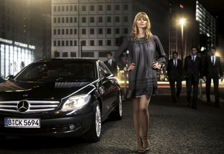 mercedes benz girl - benz, mercedes, road, girl