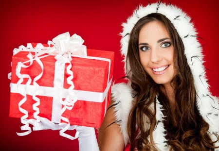 Nice Gift - parcel, christmas, girl, decoration