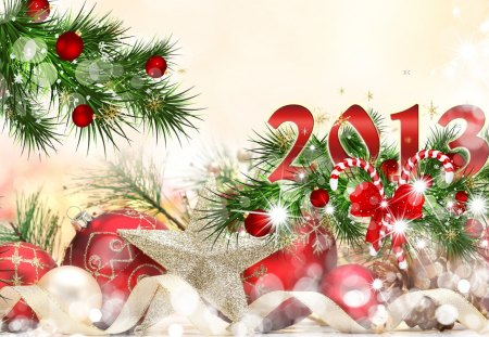 Happy 2013 - feliz navidad, christmas, ribbon, gold, balls, candy cane, snow, stars, glitter, happy new year