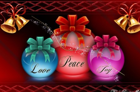 Love,Peace,Joy - decorations, colors, holiday, christmas, abstract, ornaments