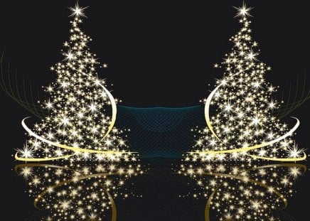 Two Gold Christmas Tree Other Abstract Background