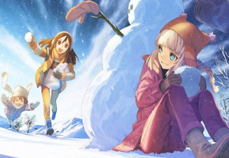 Winter day - manga, game, sky, snowman, play, winter, girl, purple, snow, anime, white, pink, blue