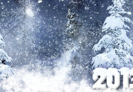 Winter 2013 - cold, snow, winter, blue, forest, wonderland, new year, 2013, snowflakes, trees
