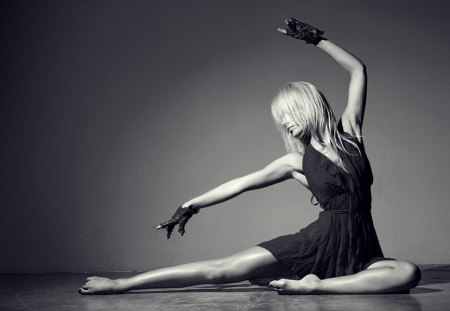Dancer - blonde, dress, woman, dancer