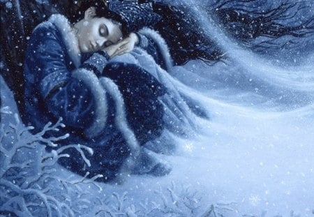 Snow princess - asleep... - pretty, fine art, beautiful, cold, nice, fantasy, painting, beauty, tiara, blue, art, lovely, winter, snowing, snow, ruth sanderson, asleep, crown, white, princess