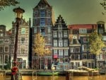 wonderful houses by the river in amsterdam hdr