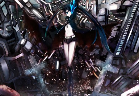 Black Rock Shooter - blue flame, girl, other world, anime, black rock shooter, weapon, brs