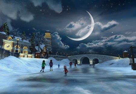 Wintertime - snow, bridge, painting, children, ice