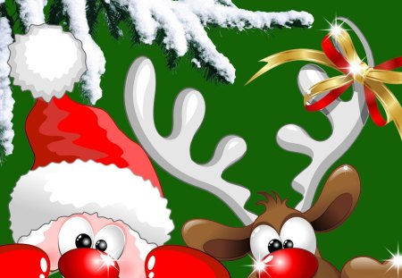 Santa and Rudolph - feliz navidad, rudolph the red nosed reindeer, christmas, cartoon, saint nick, xmas, santa claus, cute, tree, whimsical, snow, fir, reindeer, spruce