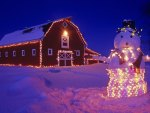 Christmas barn with snowman
