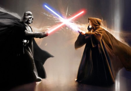 Darth Vader vs. Obi Wan Kenobi - pretty, wonderful, stunning, marvellous, sith, beautiful, adorable, science fiction, lightsabers, picture, nice, outstanding, wallpaper, sci fi, sword, super, amazing, darth vader, jedi, fantastic, star wars, abstract, george lucas, battle, skyphoenixx1, fight, awesome, great, obi wan kenobi