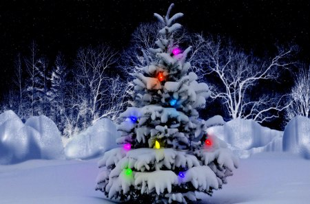 CHRISTMAS TREE - forest, christmas tree, snow, new year, girlyadna, fires, winter