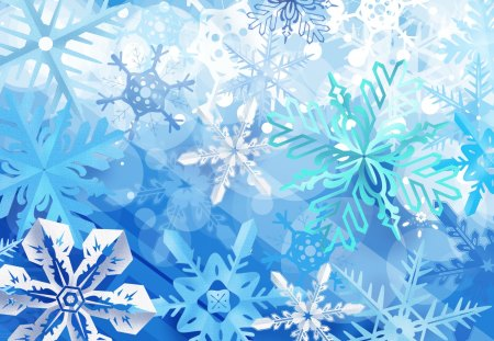 Snowflakes in Blue - christmas, white, frosty, party time, new year, sweet, snowflakes, xmas, happy, celebration, blue, colors, decorations, festival, snowflakes in blue, frozen, cool, beautiful, lovely, pretty, holidays, ornaments