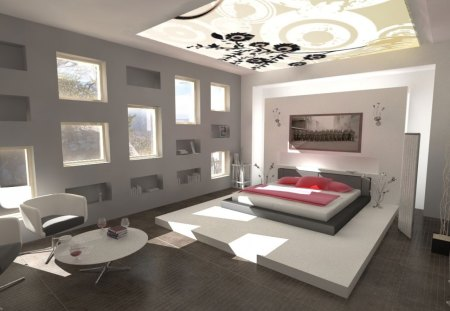 Dream Bedroom - architecture, interior, design, interior design, bedroom, bed, windows, modern, dream