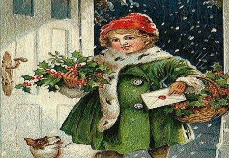 Christmas Homecoming - snow, christmas, holly, girl, mail, baskets, green, dog