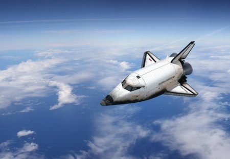 Shuttle flying over the Earth - sky, space, other, entertainment