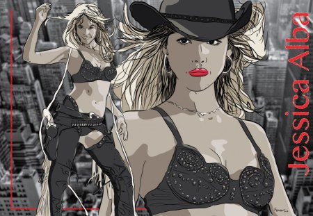 Jessica Alba - art, sin city, movie, jessica alba