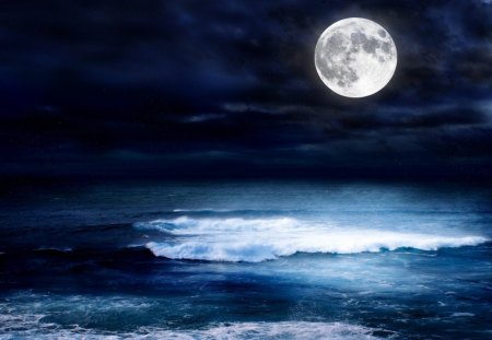 A MOONLIT OCEAN - ocean, waves, sky, night, moonlit