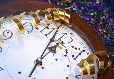 New year - christmas, clock, ribbon, nice, new year, decoration, beautiful, lovely, holiday
