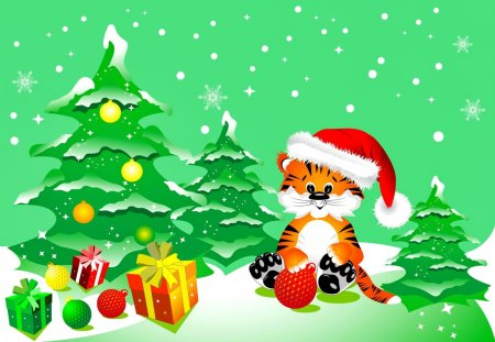 Christmas kitty - beautiful, nice, green, clipart, toys, joe, lovely, holiday, christmas, decoration, kitty, new year, cat, tree, balls, snow, snowflakes, funny, kitten, gifts, vector
