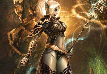Dark Elf Witch - staff, female, magic, dark elf