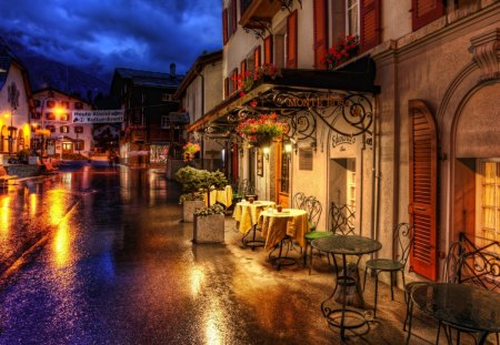 Evening in the Alps - bars, cafes, restaurants, shops, evening, alps, street