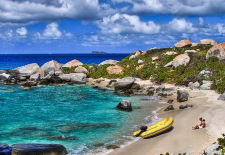 secluded beach in the british virgin islands - couple, island, beach, secluded, boat