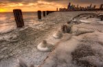 frozen lake michigan at chicago hdr