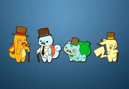 gentleman pokemon - charmander, cane, squirtle, pokemon, pikachu, top hat, classy, gentlemen, bulbasuar, monocle