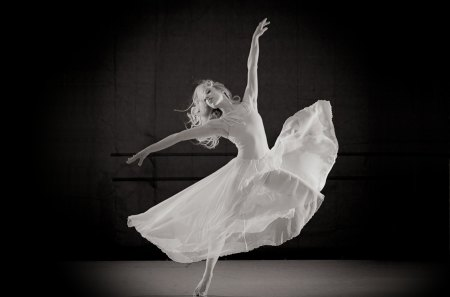 Dancer - dress, woman, dancer, white