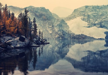 Mountains Landscape - forest, lakes, trees, lake, winter, water, snow, mountains, mirror, landscape