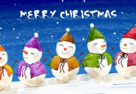 Merry Christmas - snowman, merry christmas, dancing, winter