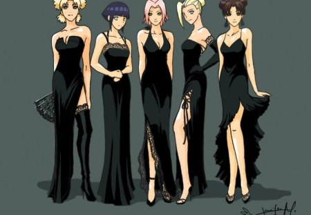 The Gals - cant think of a fourth, black dresses, naruto, silky