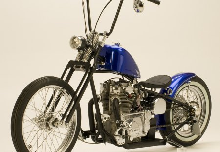 Old School Bobber - spokes, custom, bike, blue