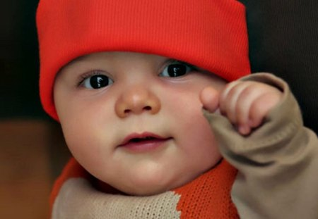 Baby with red cap - cute, adorable, baby, sweet