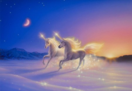 Forever in love - wonderful, sun, splendid, dreams, beautiful, magic, fantasy, moon, splendor, love, night, romantic, romance, colors, unicorns, wide, horses