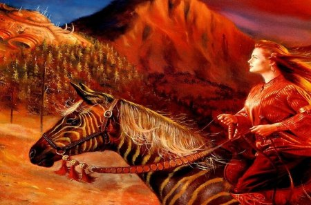 Cheval - femme, terre, rouge, canyon