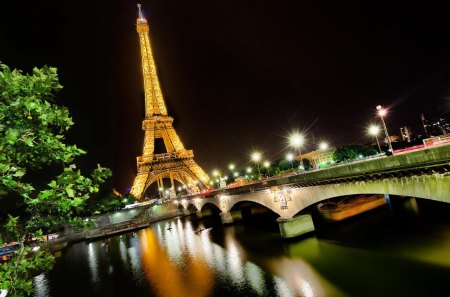 Night in Paris - architecture, lantern, paris, beautiful, lights, city, splendor, bridge, beauty, river, reflection, night, lanterns, lovely, city lights, view, colors, sky, trees, tree, water, france, eiffel tower, peaceful, nature