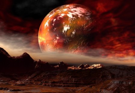 Red Planet - red, fantasy, planet, view, space, red planet