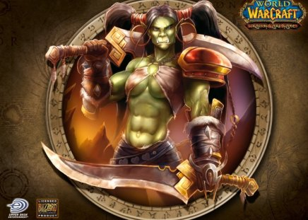 Wow Female Orc World Of Warcraft Video Games Background