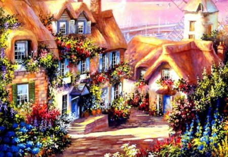 Cottage Painting - painting, cottage, path, garden