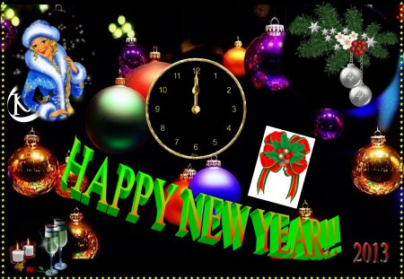 happy new year - card, beautiful, fete, happy new year