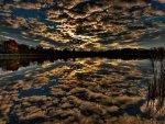 *** Dark magic sky reflected in the lake ***
