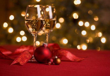 ~Happy New Year~ - red, ornement, holidays, christmas, wine, ribbon, beautiful, new year, glass, photography, cheers, love, champagne