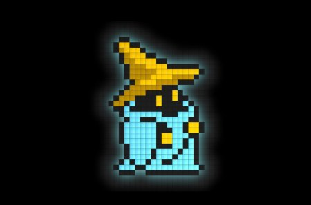 8-Bit Black Mage - glow, class, blocks, magic, hat, robe, black background, final fantasy, job, mage, black mage, pointy hat