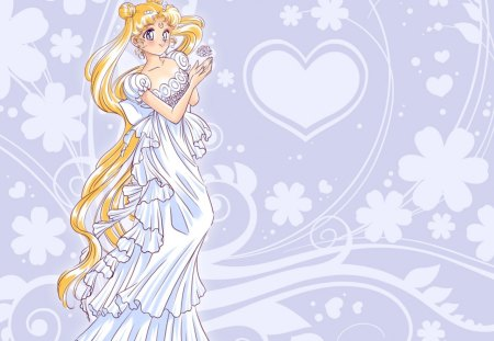 Princess Serenity - pretty, floral, serena, nice, love, anime, royalty, sailor moon, beauty, anime girl, long hair, lovely, gown, blonde, sexy, abstract, cute, serenity, white, dress, divine, beautiful, elegant, magical girl, blossom, tsukino usagi, serena tsukino, heard, hot, gorgeous, usagi, female, blonde hair, twin tails, princess serenit, girl, flower, princess