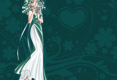 Princess Neptune - pretty, michiru kaioh, sailor neptune, floral, nice, love, anime, royalty, sailor moon, michiru, beauty, anime girl, long hair, lovely, ribbon, gown, sexy, abstract, cute, green hair, dress, divine, beautiful, elegant, magical girl, blossom, green, heard, hot, gorgeous, female, girl, flower, princess